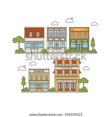 Flat Style Color Collection Of Small Classic Vintage Buildings For Store, Resta?rant, Office or Market Icons - stock vector
