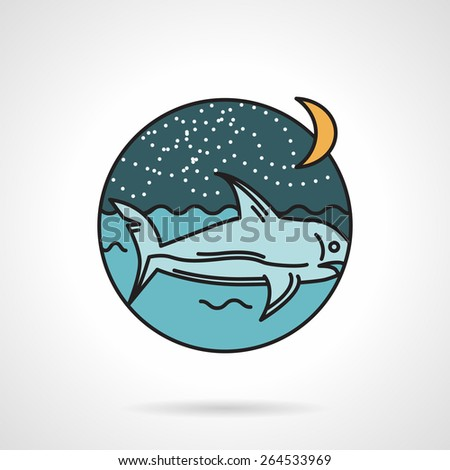 Flat style colored vector icon for night seascape with shark on gray background. - stock vector
