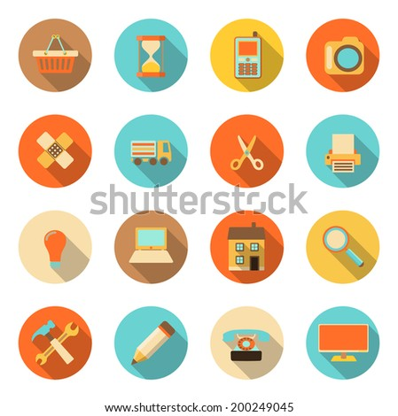flat style colorful icons with long shadow on white background, vector illustration, eps 10 with transparency - stock vector