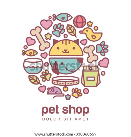 Flat style colorful illustration of funny muzzle of cat and dog. Goods for animals, vector icons set. Abstract design concept for pet shop or veterinary.  - stock vector