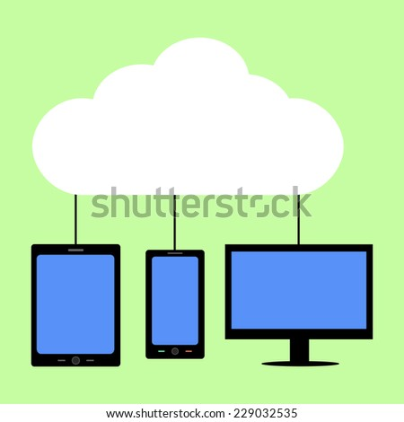 Flat style computer, tablet  and smart phone with cloud as symbol of cloud computing
