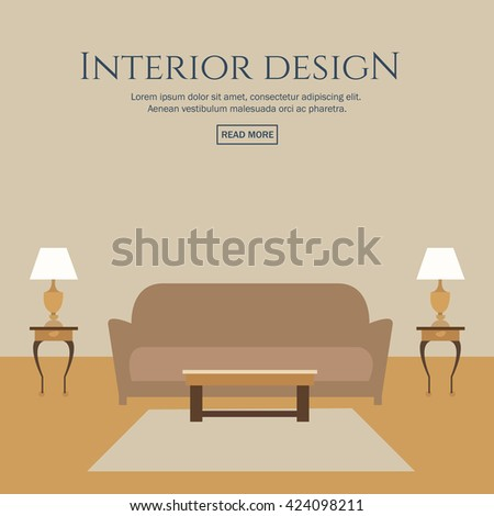 Flat Style Concept Set Interior Design Stock Vector
