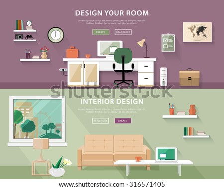 Flat style concept set of interior design room types. Web banner vector illustration  - stock vector