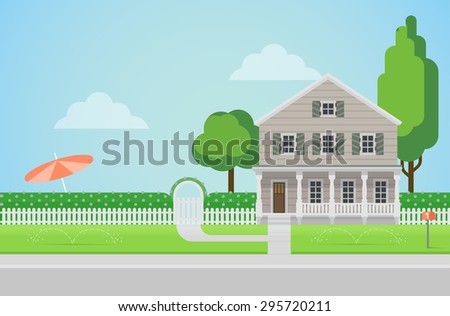 Flat style countryside family house with backyard lawn concept. Architecture design elements. Build your world collection. - stock vector