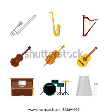 Flat style creative modern classic music band instruments web app concept icon set. Trombone saxophone harp sax guitar violin xylophone piano drum set cello. Website icons collection. - stock vector