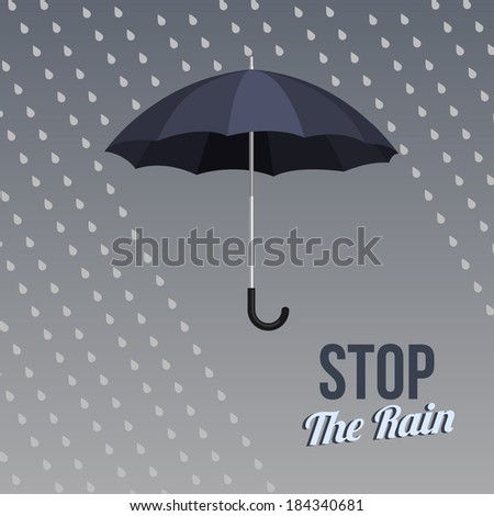 flat style dark blue umbrella icon - stock vector