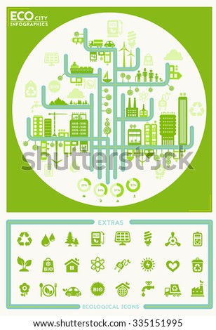 Flat style design eco city infographic with eco icons collection