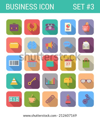 Flat style design long shadow business vector icon set. Briefcase, piggybank, calendar, mailbox, glasses, banknote,  stats, buoy, barcode, purse, shopping cart. Flat web and app icons collection.