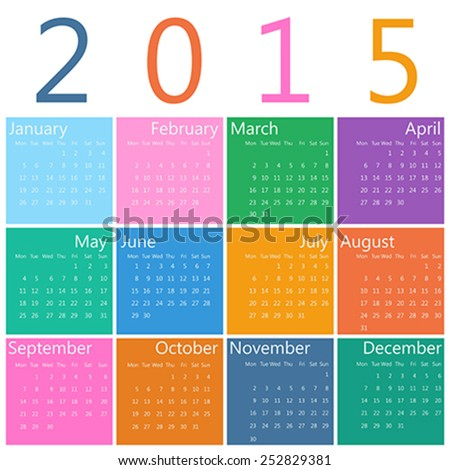 Flat style design of calendar for 2015 - stock vector