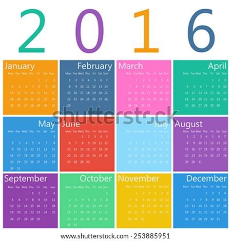 Flat style design of calendar for 2016 - stock vector