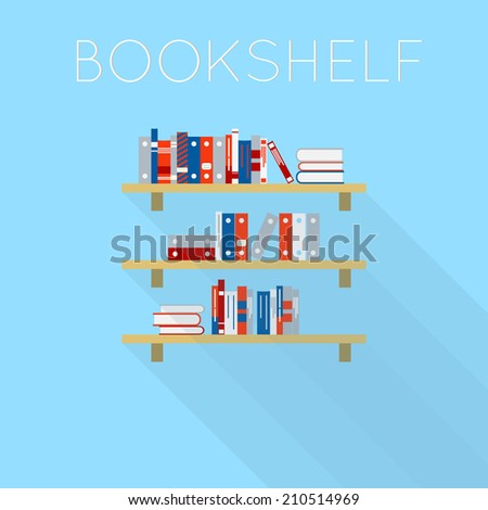 Flat-style design of three bookshelf with books. Light blue background with shadow. - stock vector