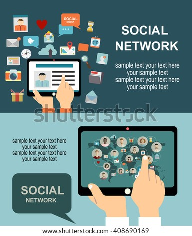 Flat style design of web banner template for website or infographics Global social network - stock vector