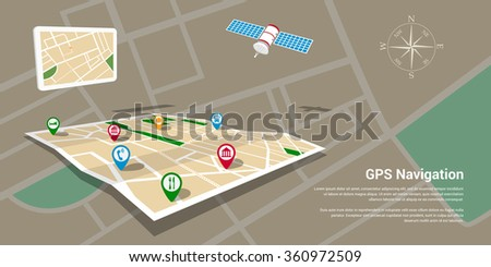 Flat style design of web banner template for website or infographics, mobile navigation GPS system, destination location, spotting and find the right way.  - stock vector
