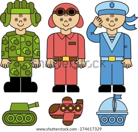 flat style design professional people,  professions military, soldier, sailor, tanker