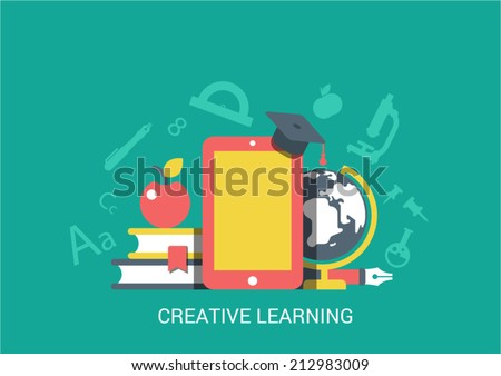 Flat style design vector illustration icon creative technology tablet device empty copyspace background education concept. Touchpad, ebook, graduate cap, globe, apple. Big flat icons collection. - stock vector