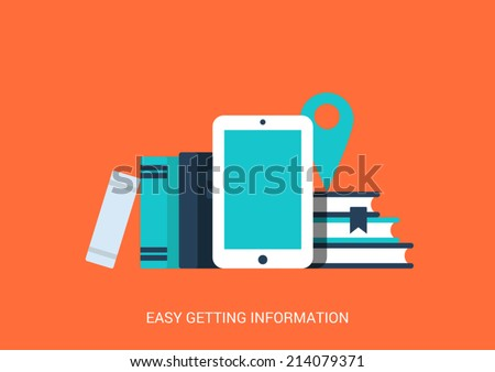 Flat style design vector illustration icon creative technology tablet device empty copyspace background education library easy access information concept. Touch screen pad ebook library books map pin. - stock vector