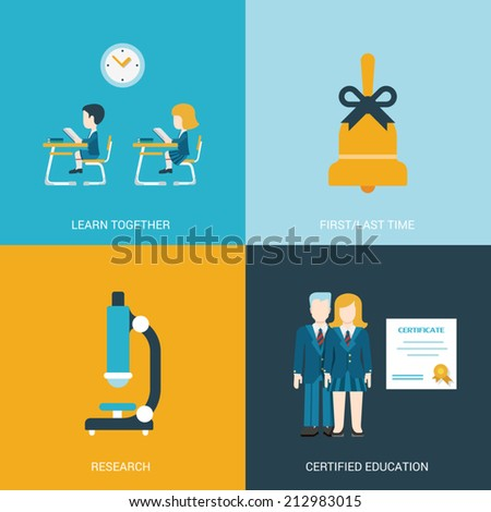 Flat style design vector illustration icon set back to school education concept. Boy and girl sitting at the desk in classroom, hand bell, microscope, certificate graduates. Big flat icons collection. - stock vector