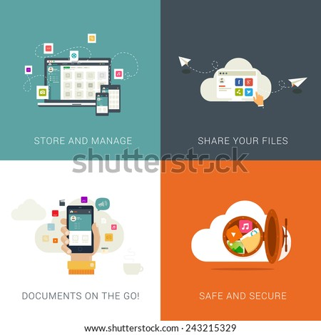 Flat Style Designs concepts for Cloud Services and File Management.  - stock vector
