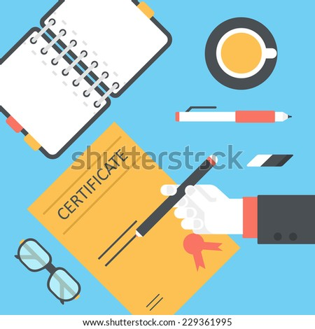 Flat style desktop with hand sign issue certificate and opened diary infographic icon set. Desk with notebook planner, tea cup, glasses, pencil, pen, eraser. Workplace table top view collection. - stock vector