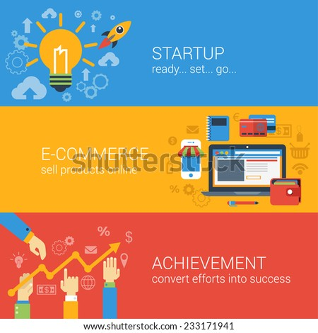 Flat style e-commerce business startup infographic concept. Start up spaceship online store income achievement result graphic web site icon banners templates set. Website conceptual vector collection. - stock vector