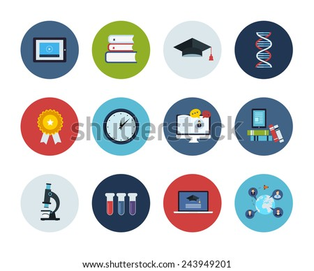 Flat style education and science vector illustrations. Circle icons set. - stock vector