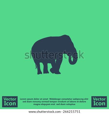 Flat style elephant  icon - stock vector