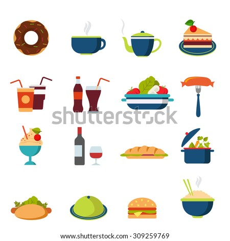 Flat style fast street food drink cafe restaurant icon set. Menu eat beverage dinner lunch burger cola coffee tea bakery cake bottle hamburger dessert web infographic icons collection.