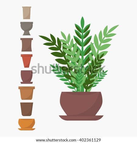 Flat style house plant in pot vector icon. Green indoor vector house plant with different pots icons. Houseplant isolated on white background. Set of pots icons. Indoor, office and house plant in pot. - stock vector