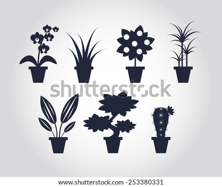 Flat style Houseplants icons - vector illustration