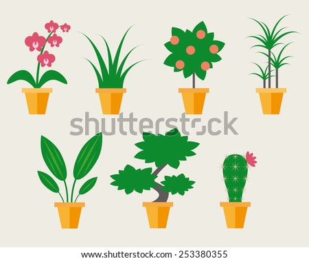 Flat style Houseplants - vector illustration, may use like icons