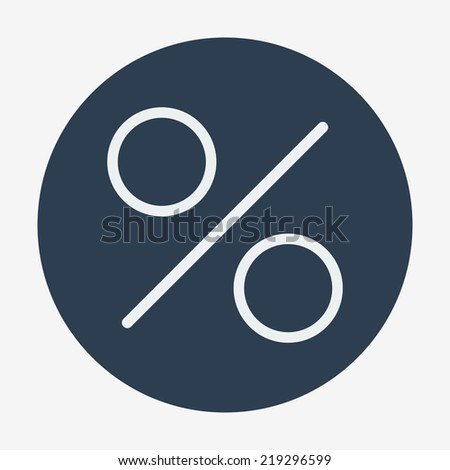 Flat style icon, percent symbol vector illustration. Education, finance, sales. Easy paste to any background. - stock vector