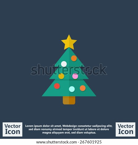 Flat style icon with christmas tree symbol - stock vector
