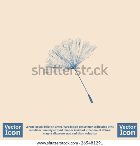 Flat style icon with dandelion seed symbol - stock vector