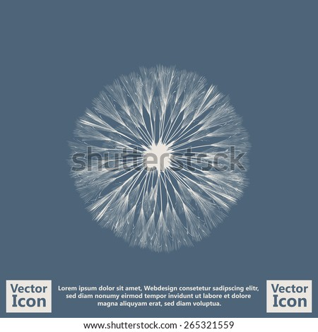 Flat style icon with dandelion symbol - stock vector