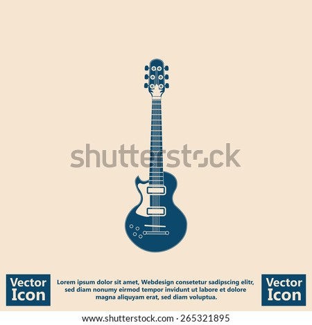 Flat style icon with electric guitar symbol - stock vector