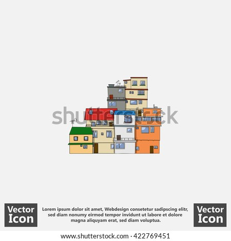 Flat style icon with favela houses symbol - stock vector