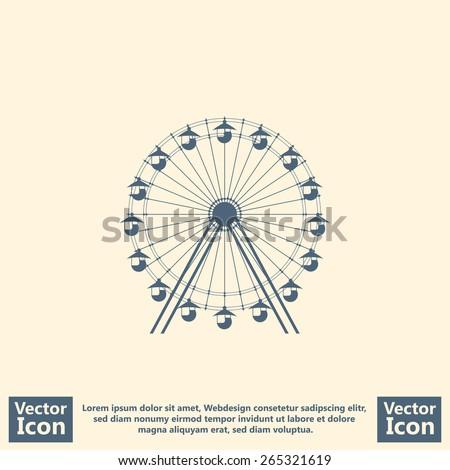Flat style  icon with Ferris wheel symbol  - stock vector