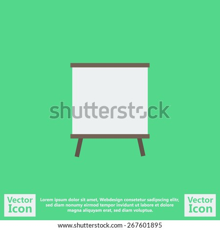 Flat style icon with flip-chart symbol - stock vector
