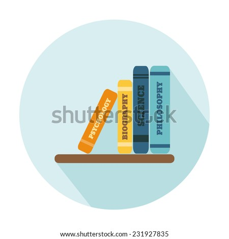 Flat Style Icon with Long Shadow. A shelf with books. Concept for education, training courses, self-development and how-to articles - stock vector