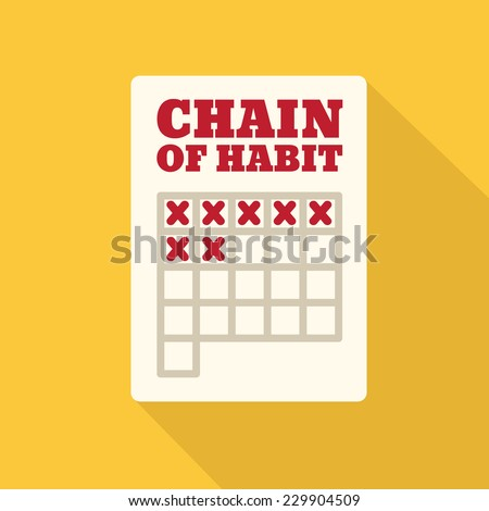 Flat Style Icon with Long Shadow. Chain of Habit. Concept for education, training courses, self-development and  how-to articles - stock vector