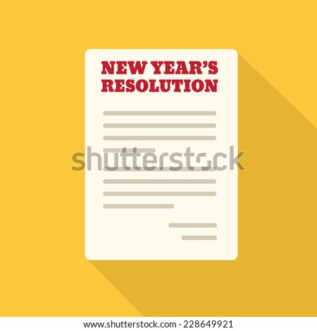 Flat Style Icon with Long Shadow. New Year's Resolution - stock vector