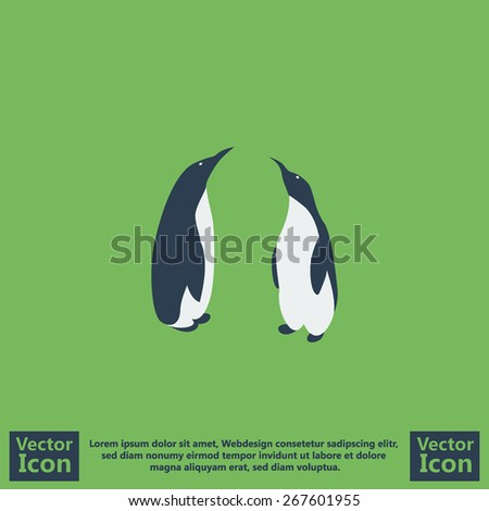 Flat style icon with penguins symbol - stock vector