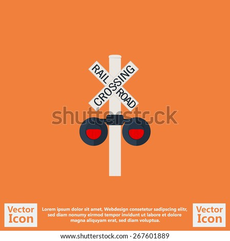 Flat style icon with railroad crossing sign symbol - stock vector