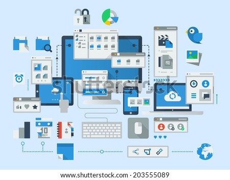 Flat style icons of social media and sharing. Computer vector background - stock vector