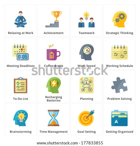 Flat style icons representing the best ways to increase work productivity.  - stock vector
