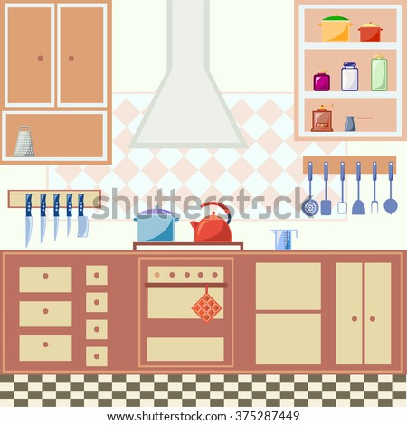 Flat style illustration of kitchen interior with furniture and cooking utensils. Vector graphics.