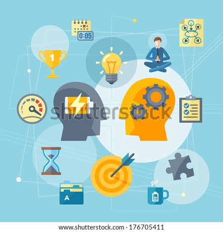 Flat style illustration representing the best ways to increase work productivity.  - stock vector