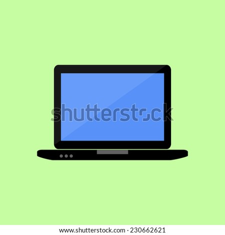 Flat style laptop with blank screen on green background