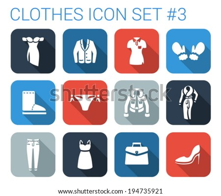 Flat style long shadow clothes silhouette vector icon set. Evening dress, jacket, t-shirt, gloves, boots, panties, dress, bag, pants, shoes.  - stock vector