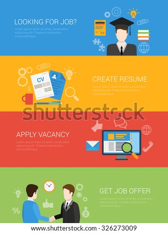 Flat style looking for job offer create resume apply vacancy website banner infographic icon set. Graduate diploma get recommendation partnership handshake. Web infographics collection. - stock vector